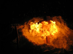 bonfire in snow
