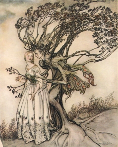 "Arthur Rackham from ""The Old Woman in the Wood,"" fairy tale number 123 by the Brothers Grimm"